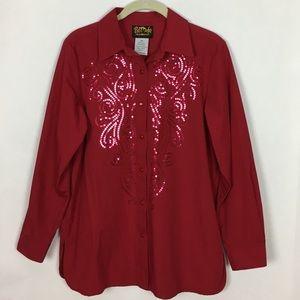 Bob Mackie Red Button Down Sequin Detail Shirt XS